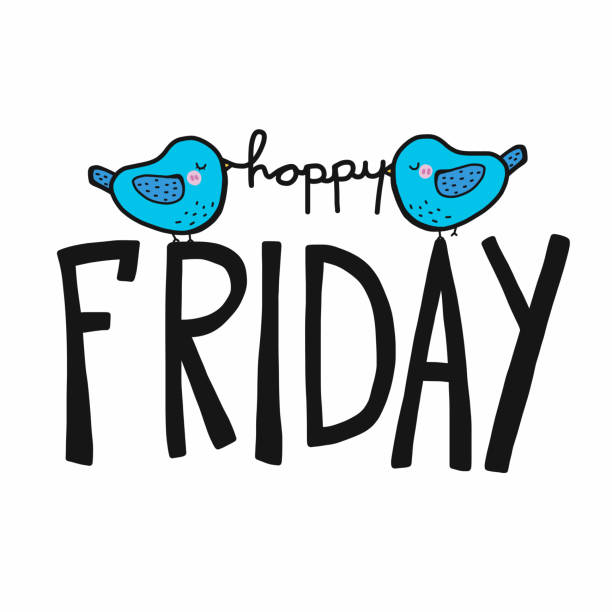 friday clipart happy word cute cartoon clip illustrations vector bird tgif graphics istockphoto