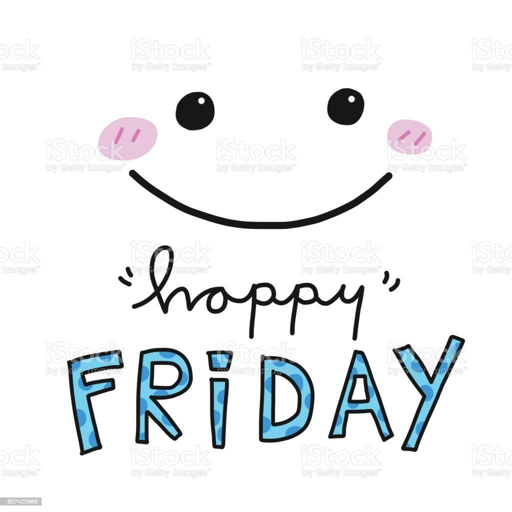 幸せな金曜日単語やかわいい笑顔顔ベクトル イラスト のイラスト素材