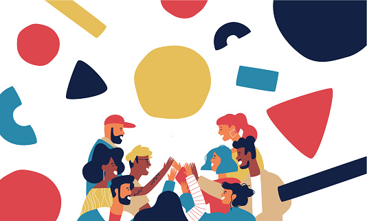 Happy friend group doing high five together. Big people team of diverse teens or young adults with modern abstract geometry shapes on isolated background.