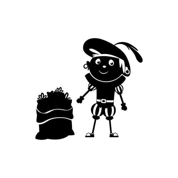 stockillustraties, clipart, cartoons en iconen met een gelukkige vriend van sinterklaas of sinterklaas zwarte piet met zak en giften - silhouet dat op transparante achtergrond wordt geïsoleerd - cadeau sinterklaas