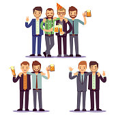 Happy friends, business people at party vector friendly concept