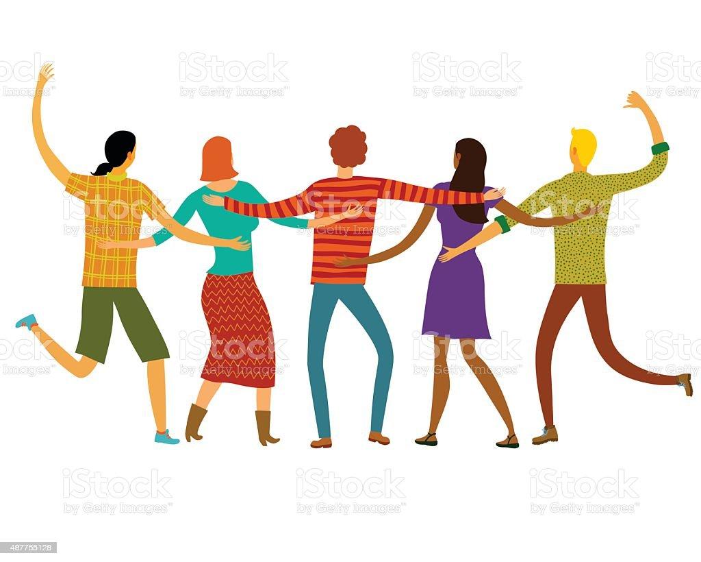 Felices amigos juntos - ilustración de arte vectorial