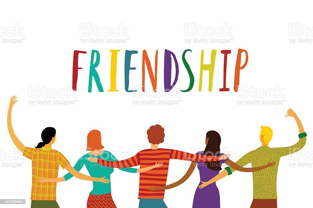Happy friends together vector art illustration