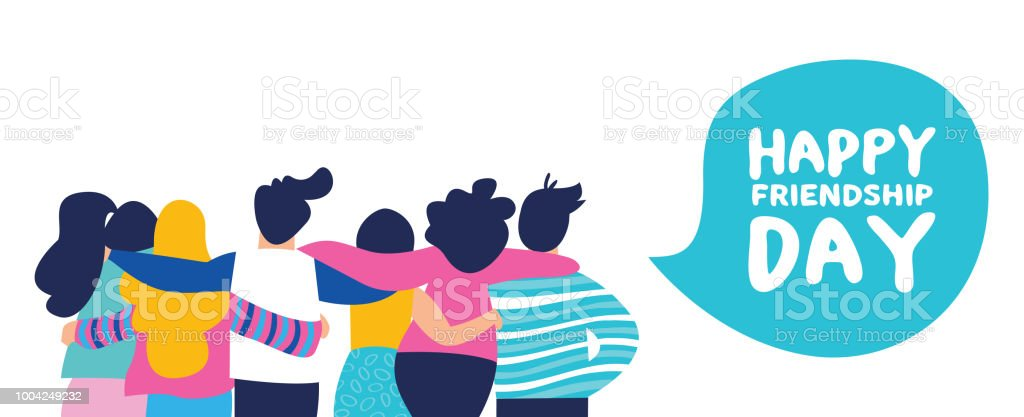 Happy friendship day banner of big friend group royalty-free happy friendship day banner of big friend group stock illustration - download image now