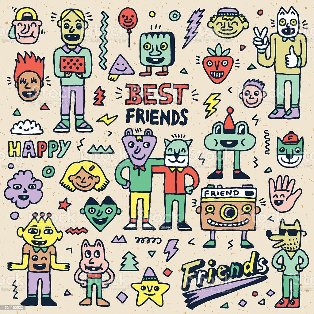 Happy Friendship Day Best Friends Funny Cartoon Doodle Set Stock