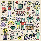 Happy Friendship Day. Best Friends Funny Cartoon Doodle Set.