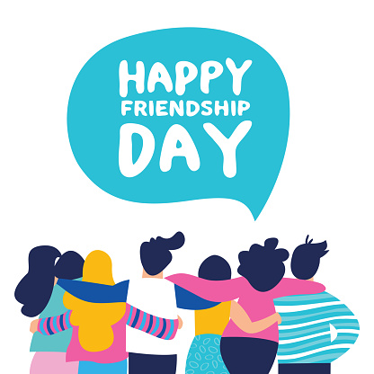 Happy Friendship day card of friend group team hug clipart