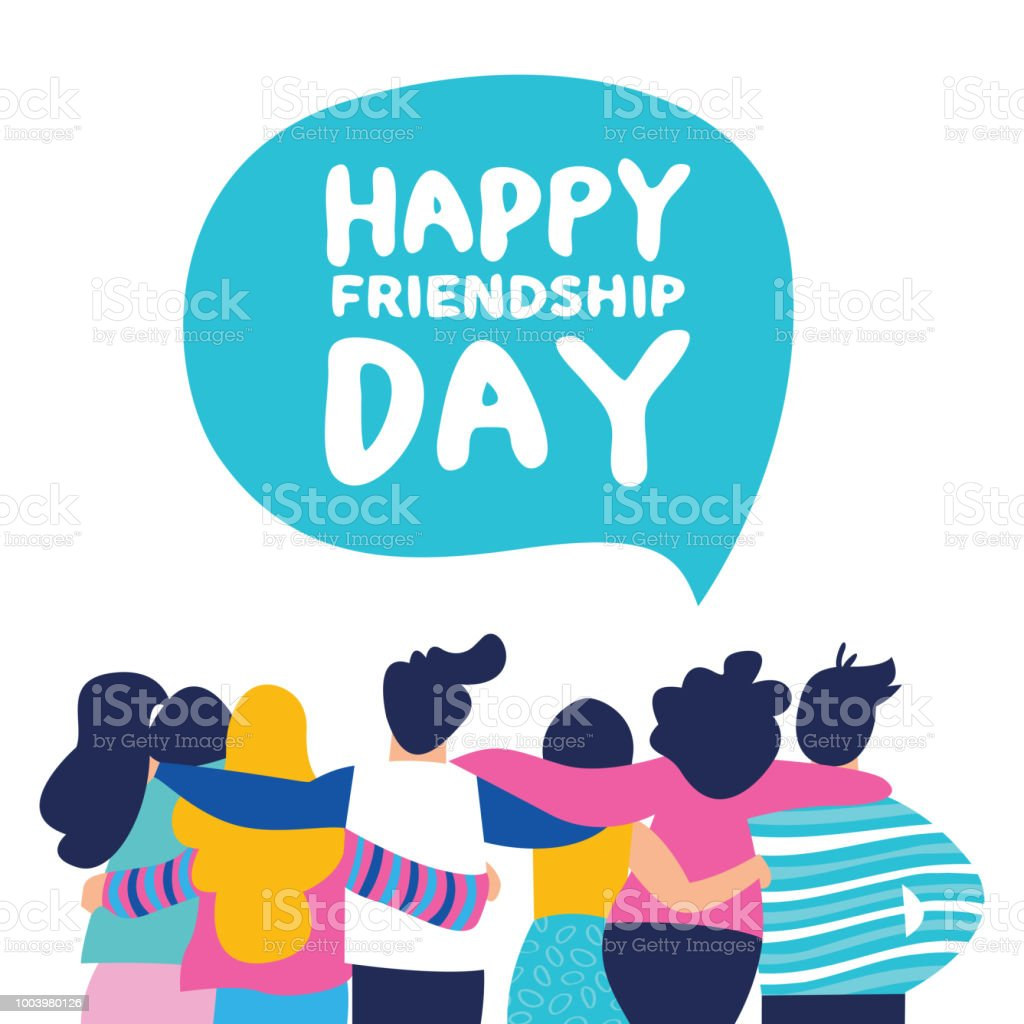 Happy Friendship day card of friend group team hug - illustrazione arte vettoriale