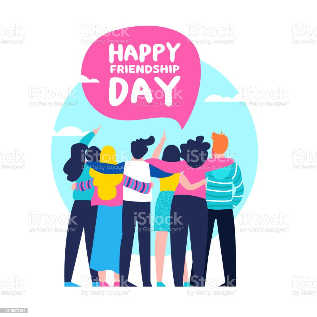Happy Friendship day card of friend group team hug royalty-free happy friendship day card of friend group team hug stock illustration - download image now