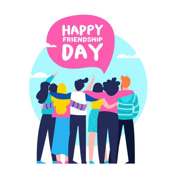 友人グループ チームの幸せな友情日のカードの抱擁します。 - 友情点のイラスト素材/クリップアート素材/マンガ素材/アイコン素材