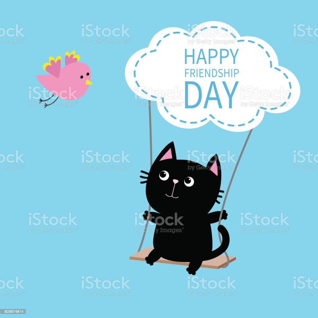 Superb Happy Friendship Day. Cat Ride On The Swing. Cloud Shape. Flying Bird.