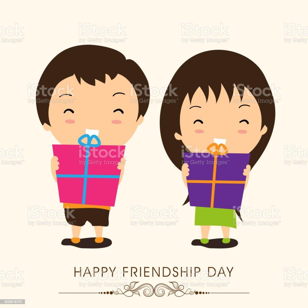 ハッピーな友情日セレブレーションズコンセプトとかわいい小さなお友達