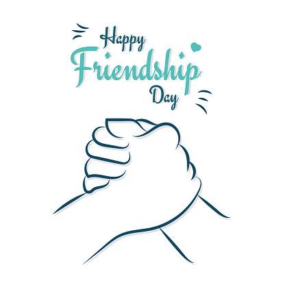 Happy Friendship Day, friends holding hand, love illustration poster, vector