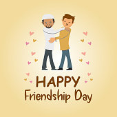 Happy friendship day banner poster illustrate two man from different religion and background. Cute moment as a friend.