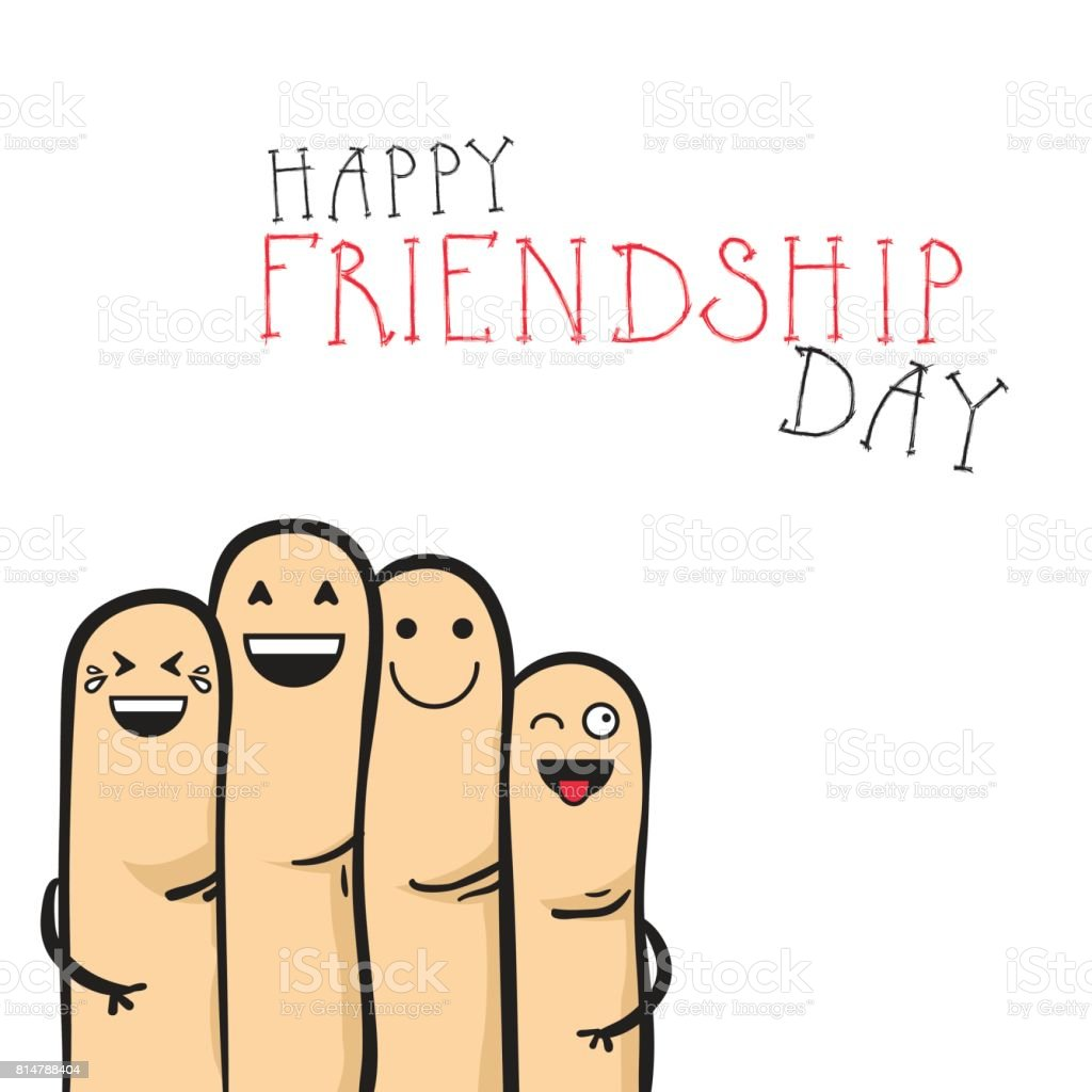 Happy Friendship Day Greeting Card Friends Holiday Banner Stock