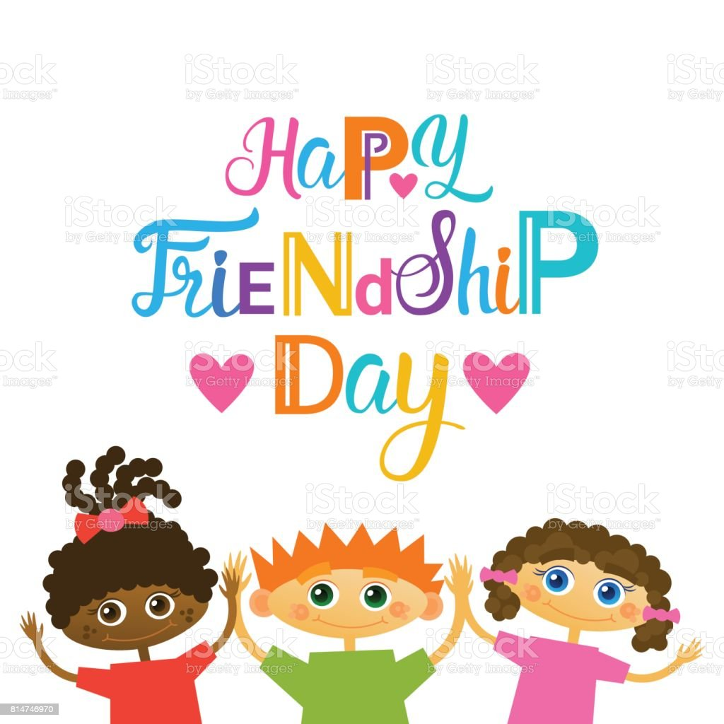 Happy Friendship Day Greeting Card Mix Race Kids Friends Multi
