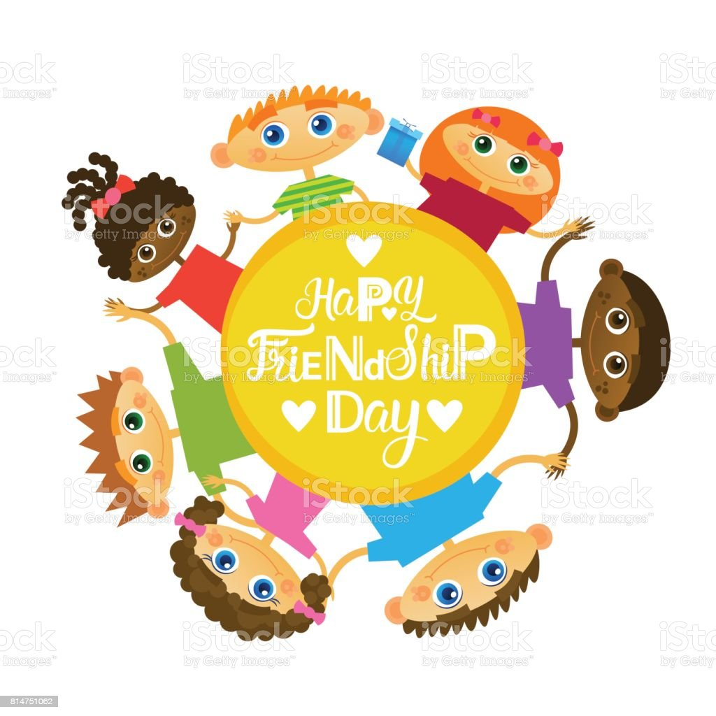 Happy Friendship Day Greeting Card Mix Race Kids Friends Multi Ethnic Holiday Banner vector art illustration