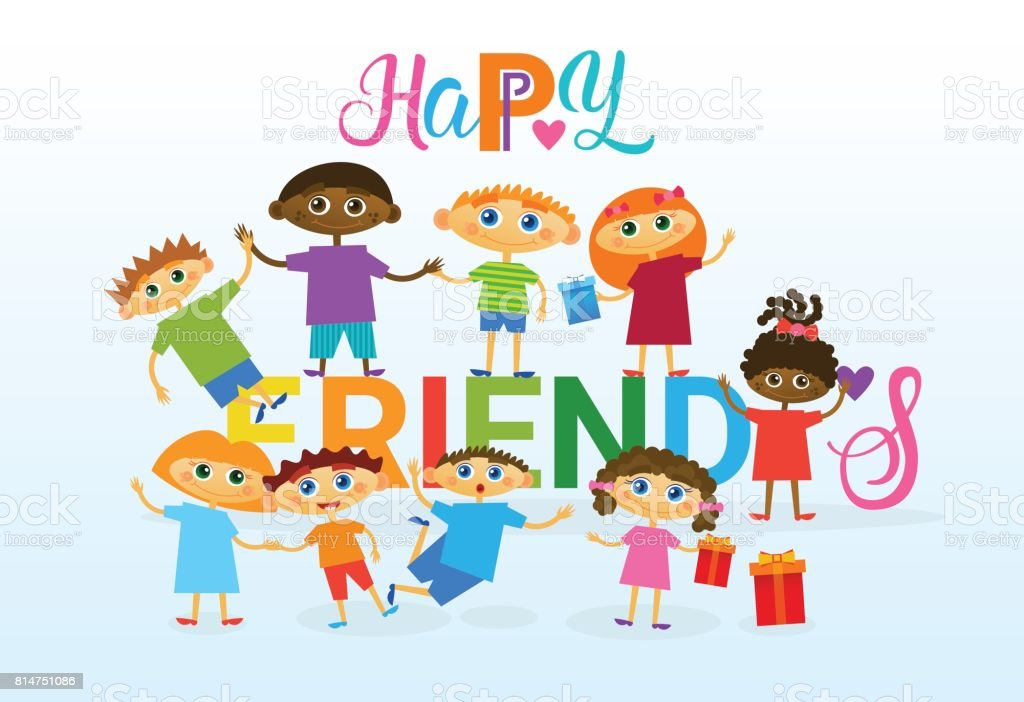 Happy friendship day greeting card mix race kids friends multi happy friendship day greeting card mix race kids friends multi ethnic holiday banner royalty free m4hsunfo