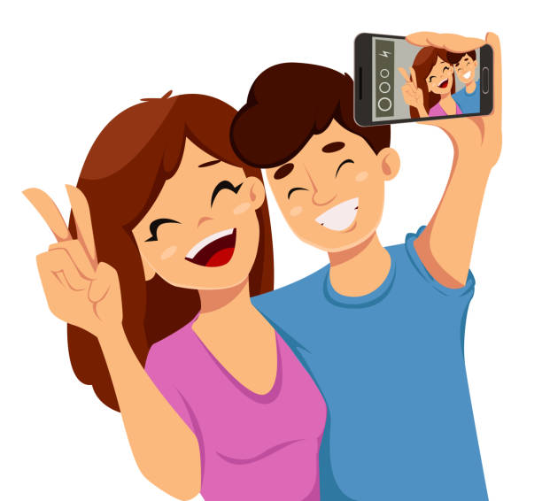 glückliche freundschaft tag grußkarte - selfie stock-grafiken, -clipart, -cartoons und -symbole