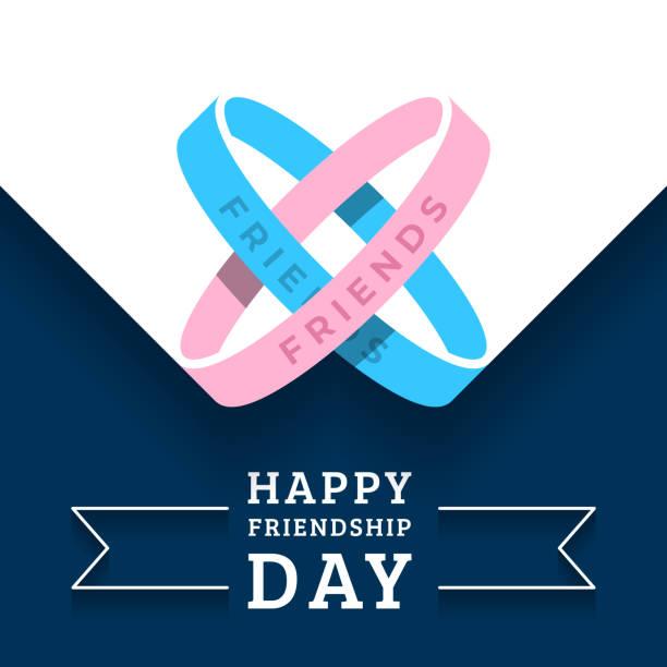 glückliche freundschaft tag grußkarte mit zwei armbändern - paararmbänder stock-grafiken, -clipart, -cartoons und -symbole