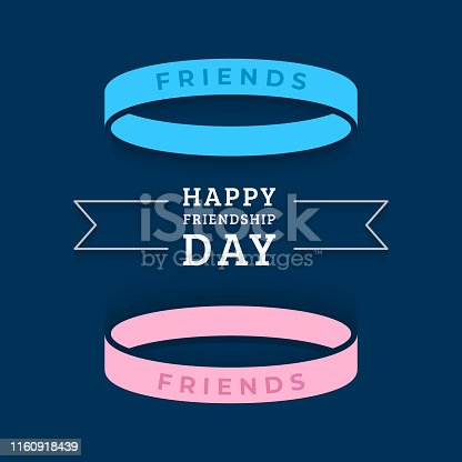 Happy friendship day greeting card with with two bracelets symbolizing friendship. Vector illustration in flat style