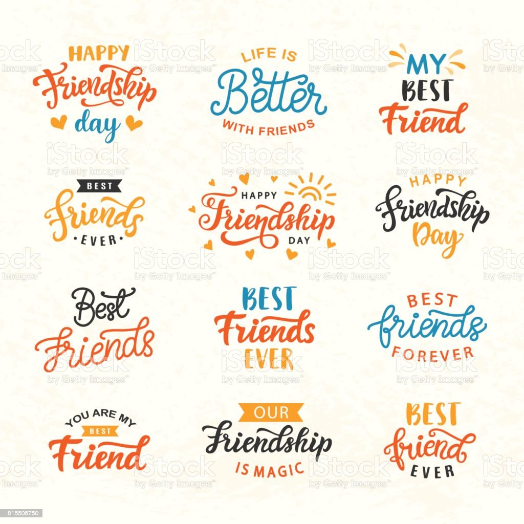 Happy Friendship Day hand lettering big set - illustrazione arte vettoriale