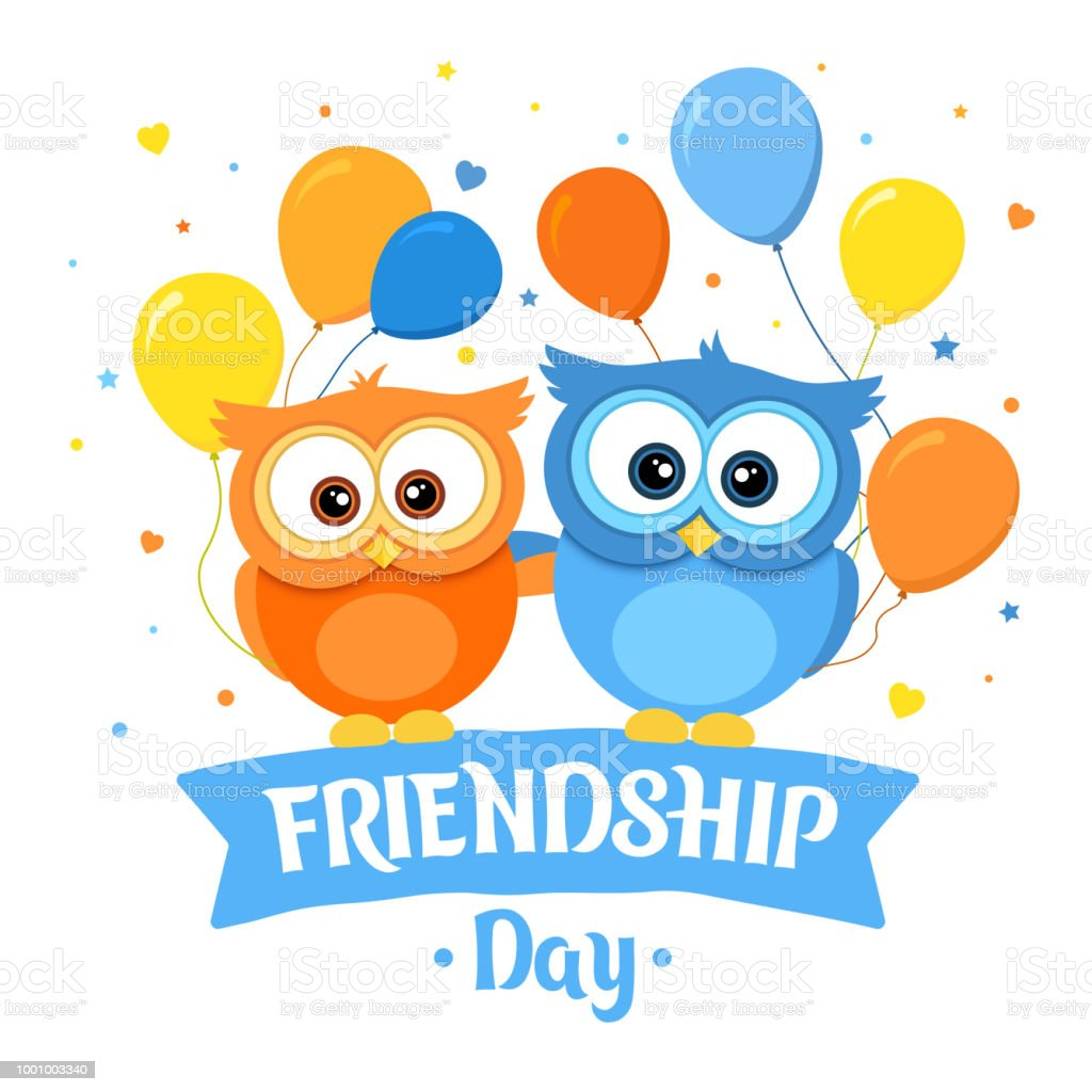 Happy Friendship Day Holiday Of The Best Friends Two Funny Owls