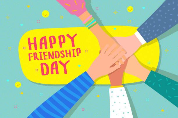 友誼日快樂插圖。手用文字握住心。 - 國際比賽 幅插畫檔、美工圖案、卡通及圖標