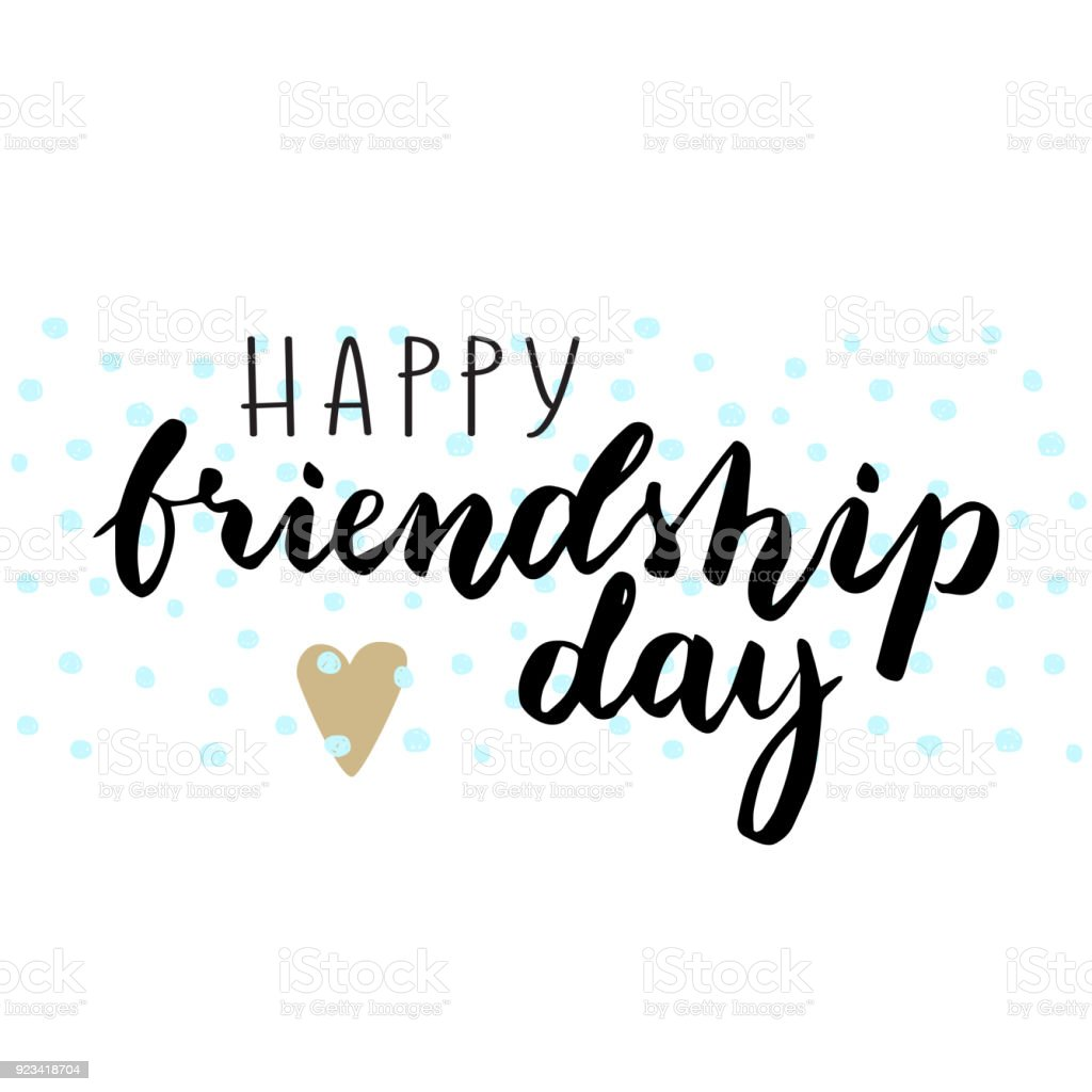 Happy Friendship Day Poster Handwritten Font For Party Template Royalty Free