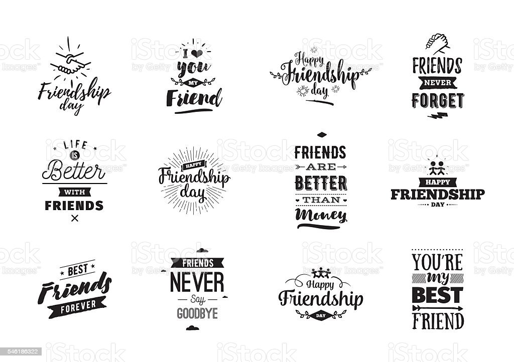 Happy Friendship day vector typographic design. - illustrazione arte vettoriale