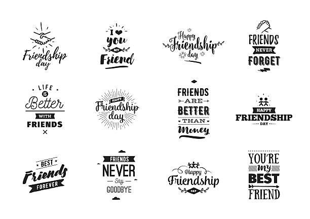 happy friendship day vector typographic design. - freunde stock-grafiken, -clipart, -cartoons und -symbole