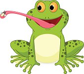 Vector Illustration of Happy frog cartoon catching fly