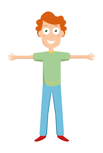 Happy funny brown-haired boy with a smile in blue pants standing with outstretched arms ready to hug. Cartoon style child avatar flat vector character design illustration isolated on white background.