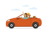 happy funny couple, man and woman in love on the roadtrip drivig a car
