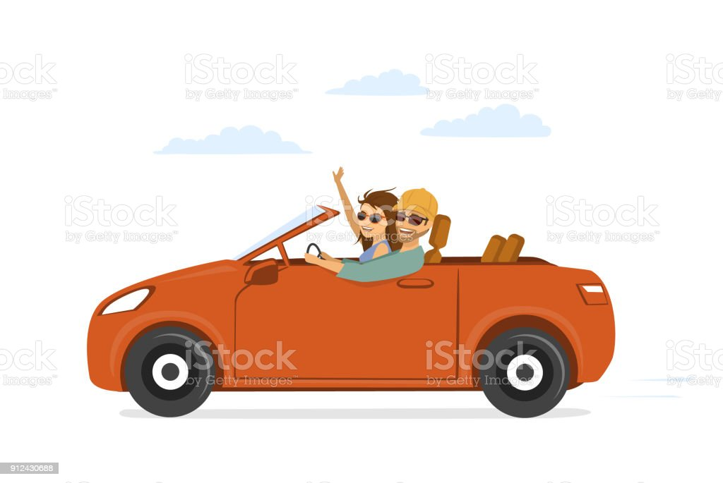 happy funny couple, man and woman in love on the roadtrip drivig a car vector art illustration