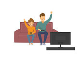 happy funny father and son playing video games on tv, sitting on sofa at home, fathers day fun vector illustration