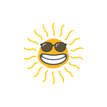 Happy funny smiley sun