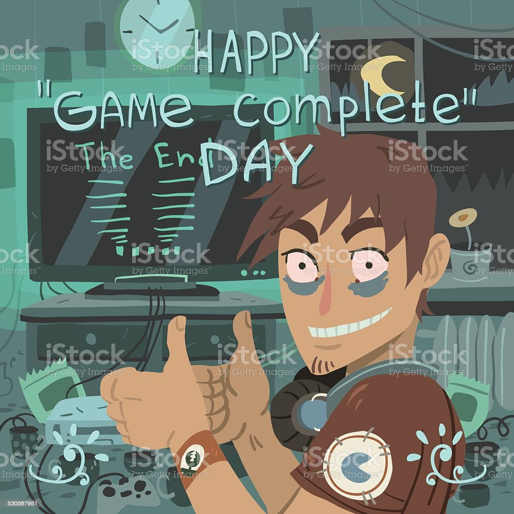 Happy game complete day greeting card. vector art illustration