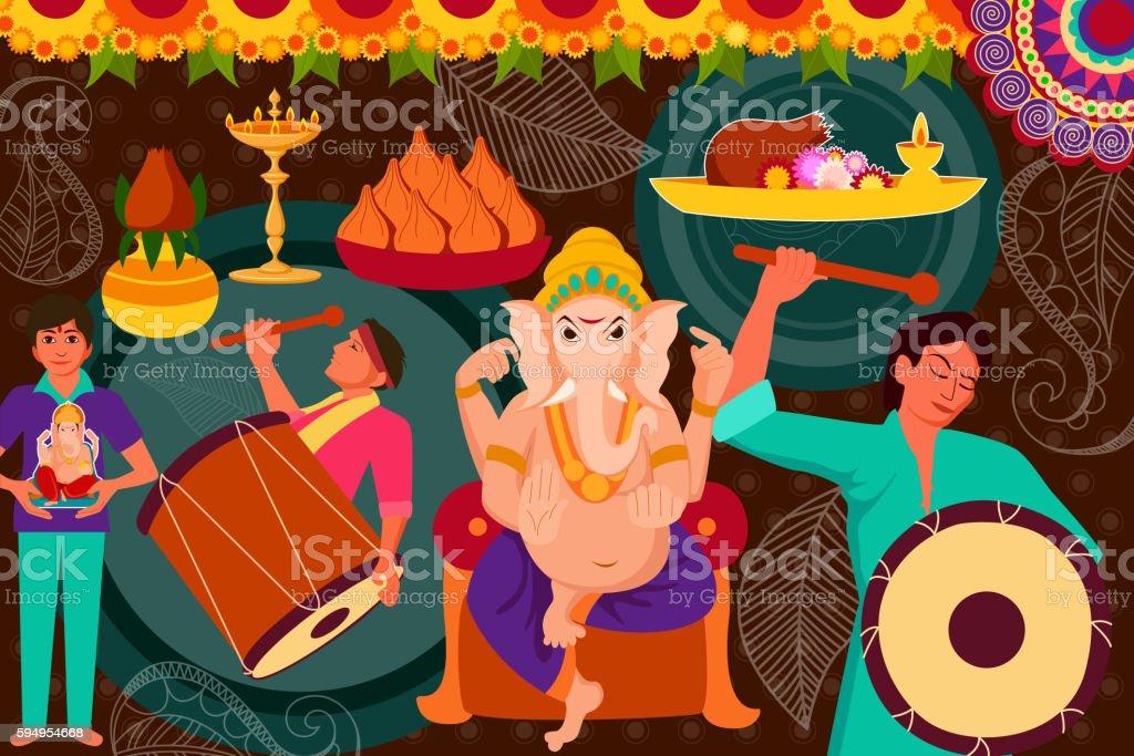 Happy Ganes Chaturthi festival celebration background