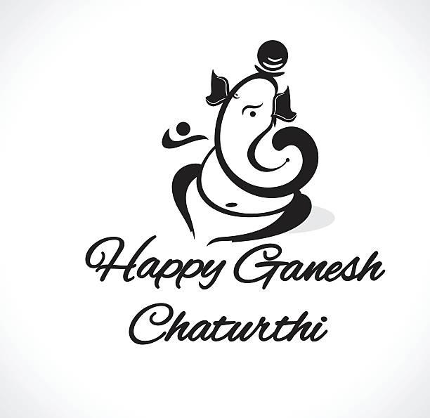 happy ganesh chaturthi background with lord ganesha clipart - ganesh stock-grafiken, -clipart, -cartoons und -symbole