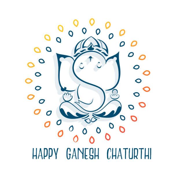 glücklich ganesh chaturthi festival gruß hintergrund - ganesh stock-grafiken, -clipart, -cartoons und -symbole