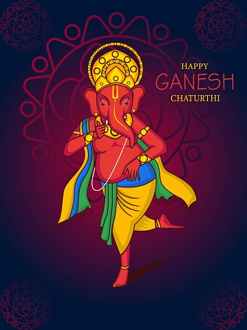 Happy Ganesh Chaturthi illustration.Dancing lord Ganesha vector.
