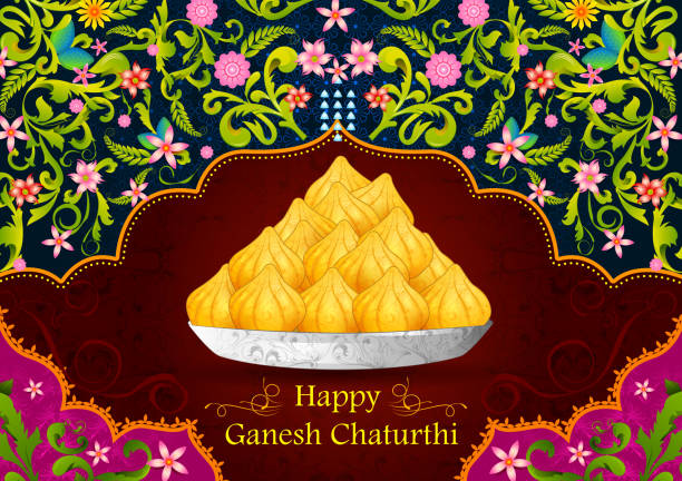happy ganesh chaturthi - indian food stock illustrations, clip art, cartoons, & icons