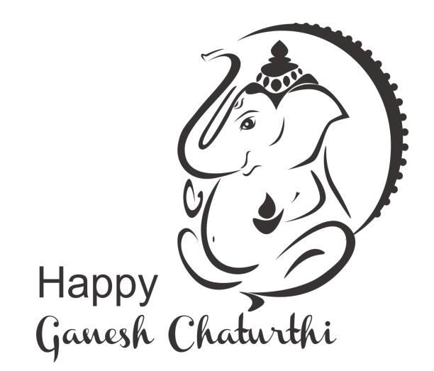 glücklich ganesh chaturthi - ganesh stock-grafiken, -clipart, -cartoons und -symbole
