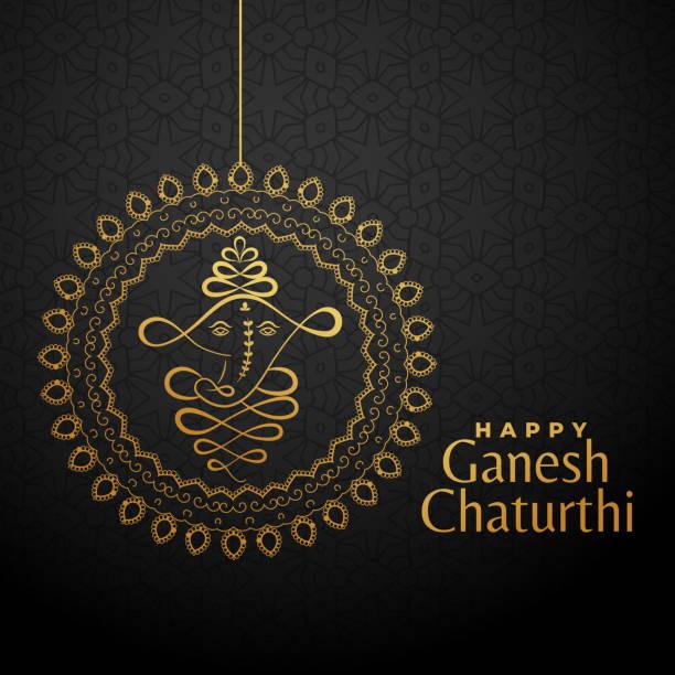 glücklich ganesha chaturthi goldenen hintergrund - ganesh stock-grafiken, -clipart, -cartoons und -symbole