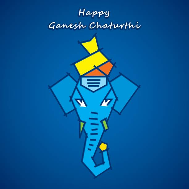 glücklich ganesha chaturthi gruß design - ganesh stock-grafiken, -clipart, -cartoons und -symbole