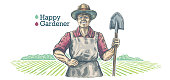 Happy gardener, holds a shovel in his hands. Vector Illustration.