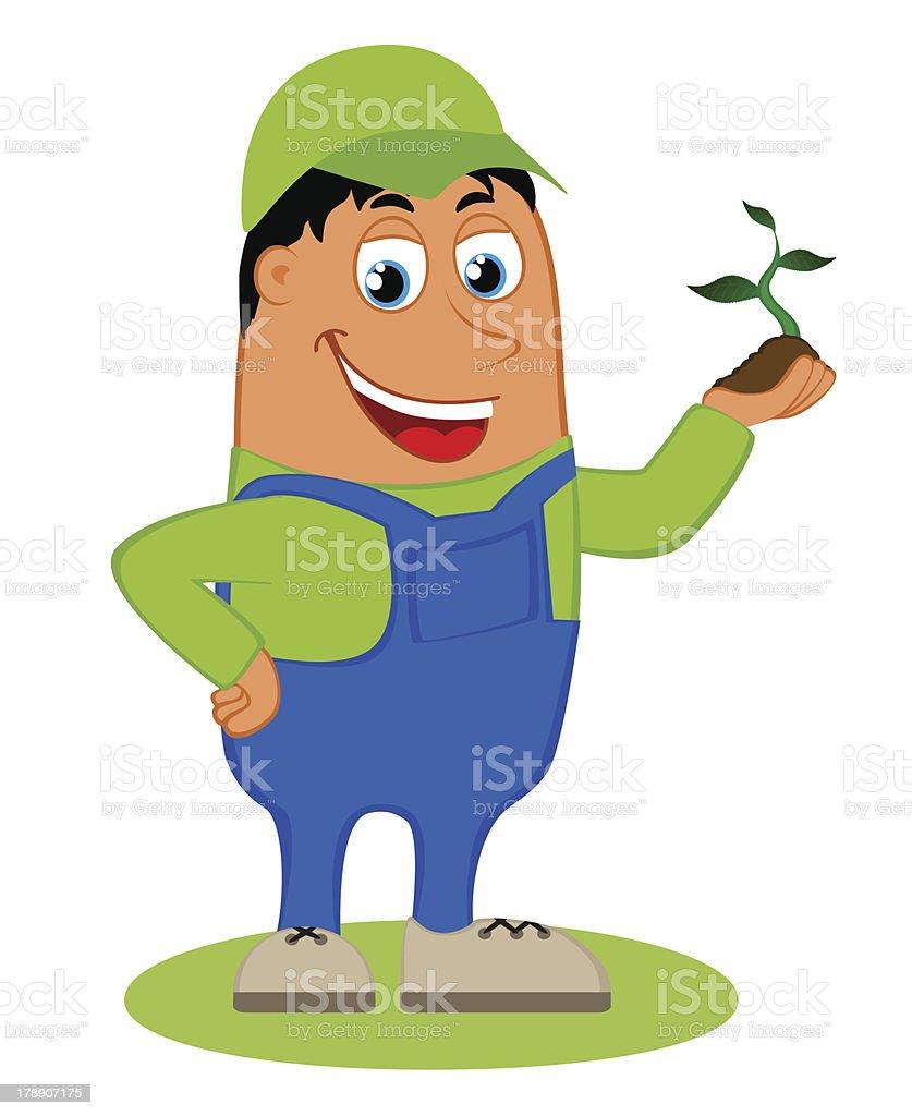 Happy gardener vector art illustration