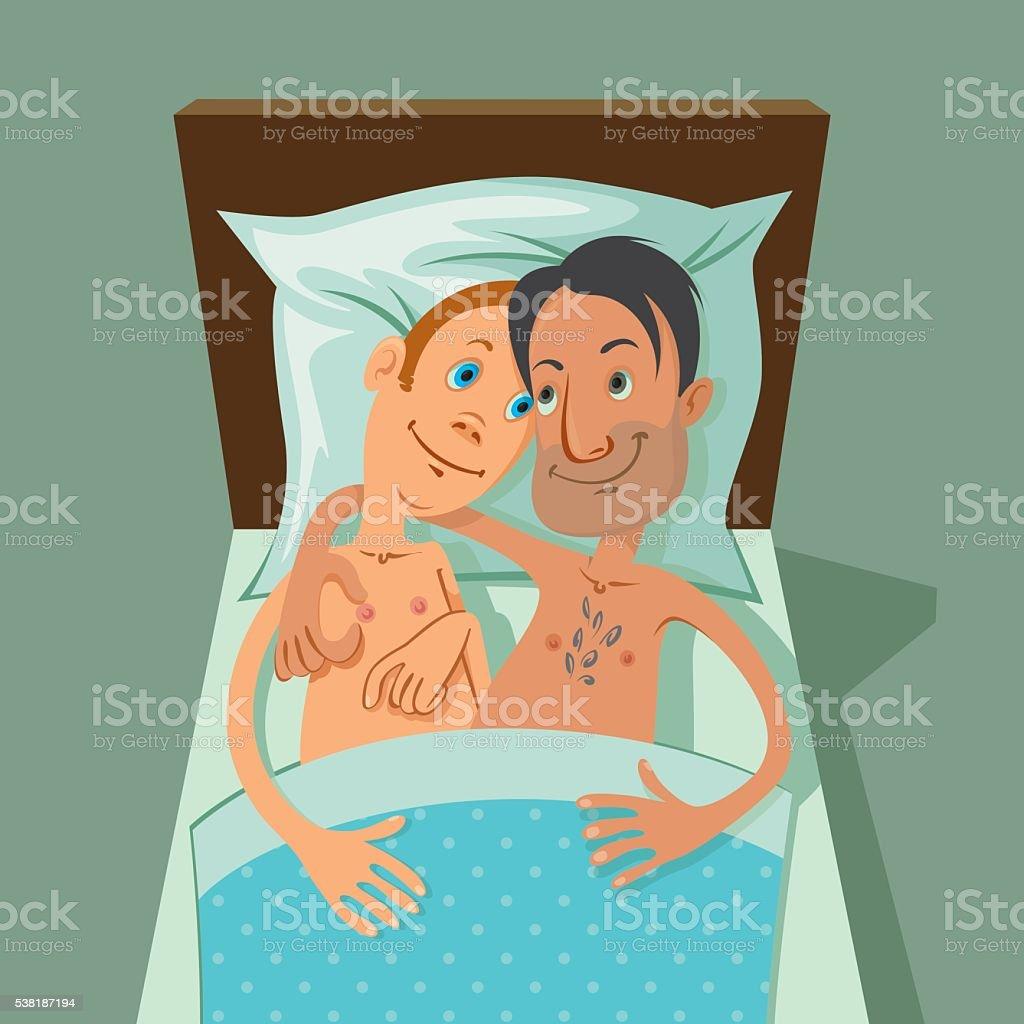 Feliz pareja gay - ilustración de arte vectorial