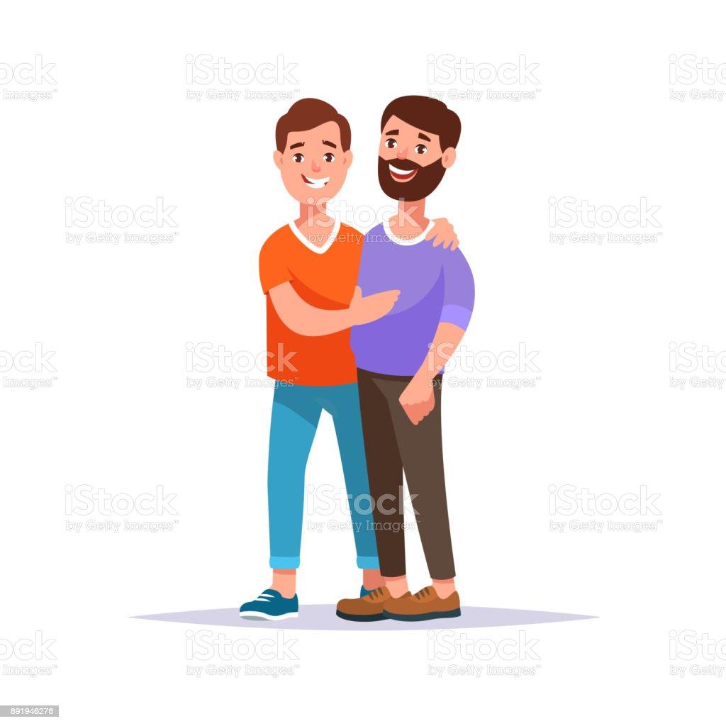 Happy gay couple vector art illustration